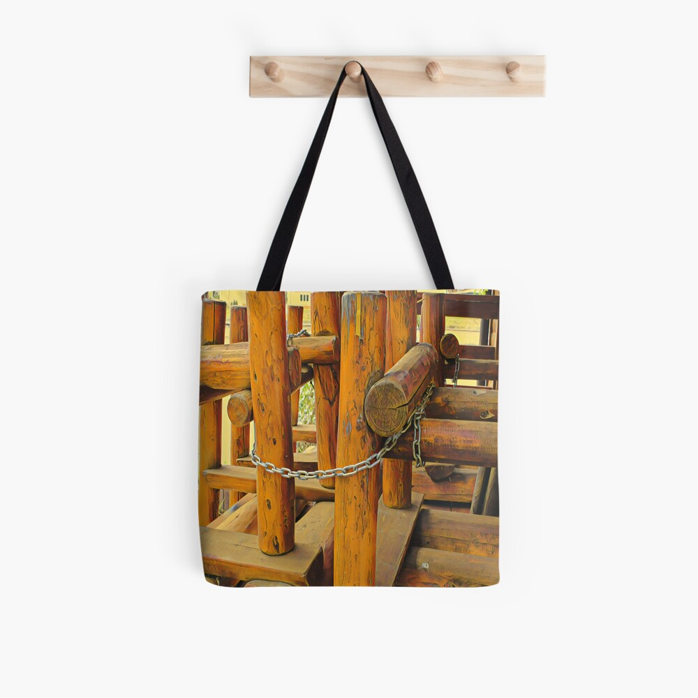 Wooden logs tighten with metal chains, save the nature concept, original painting Tote Bag