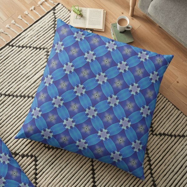 Modern Geometric Blue Pattern Design 1682 Floor Pillow