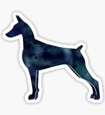 Doberman Pinscher Black Watercolor Silhouette Sticker
