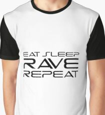 Eat Sleep Rave Repeat EDM electronic Music Graphic T-Shirt