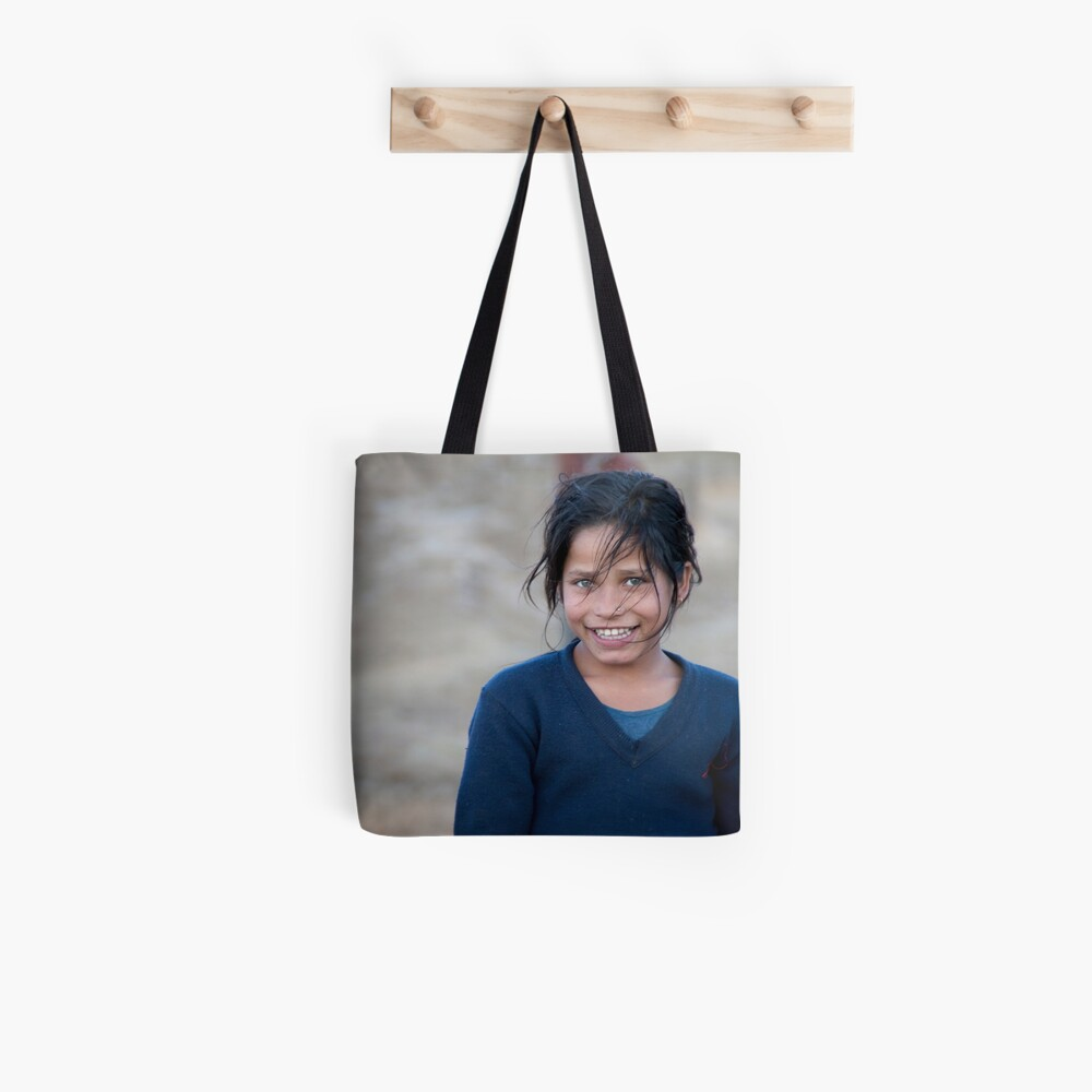 Happy Young Girl in Nepal Far West Tote Bag