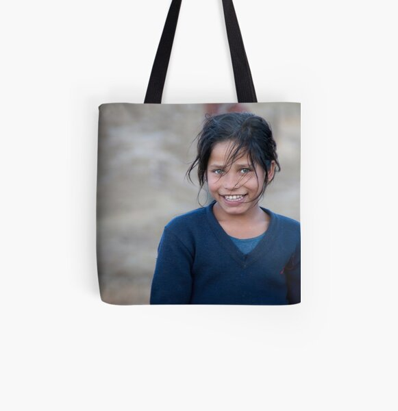 Happy Young Girl in Nepal Far West All Over Print Tote Bag