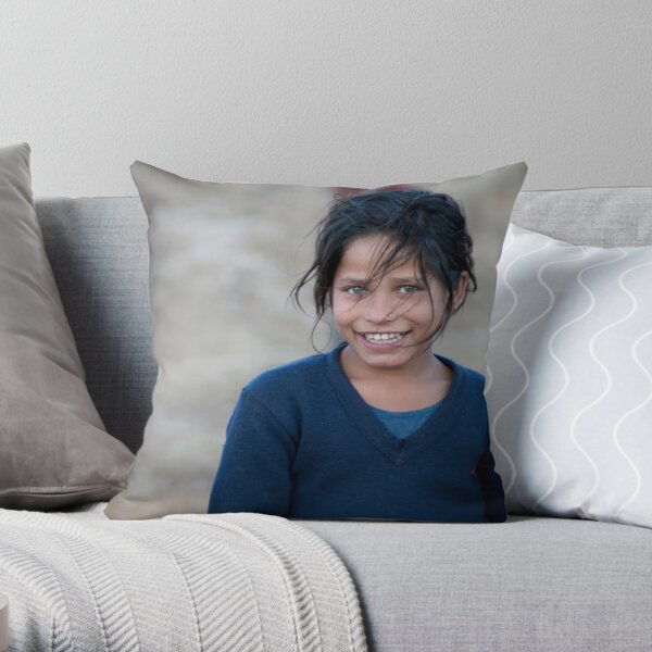 Happy Young Girl in Nepal Far West Throw Pillow