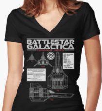 BATTLESTAR GALACTICA COLONIAL VIPER Women's Fitted V-Neck T-Shirt