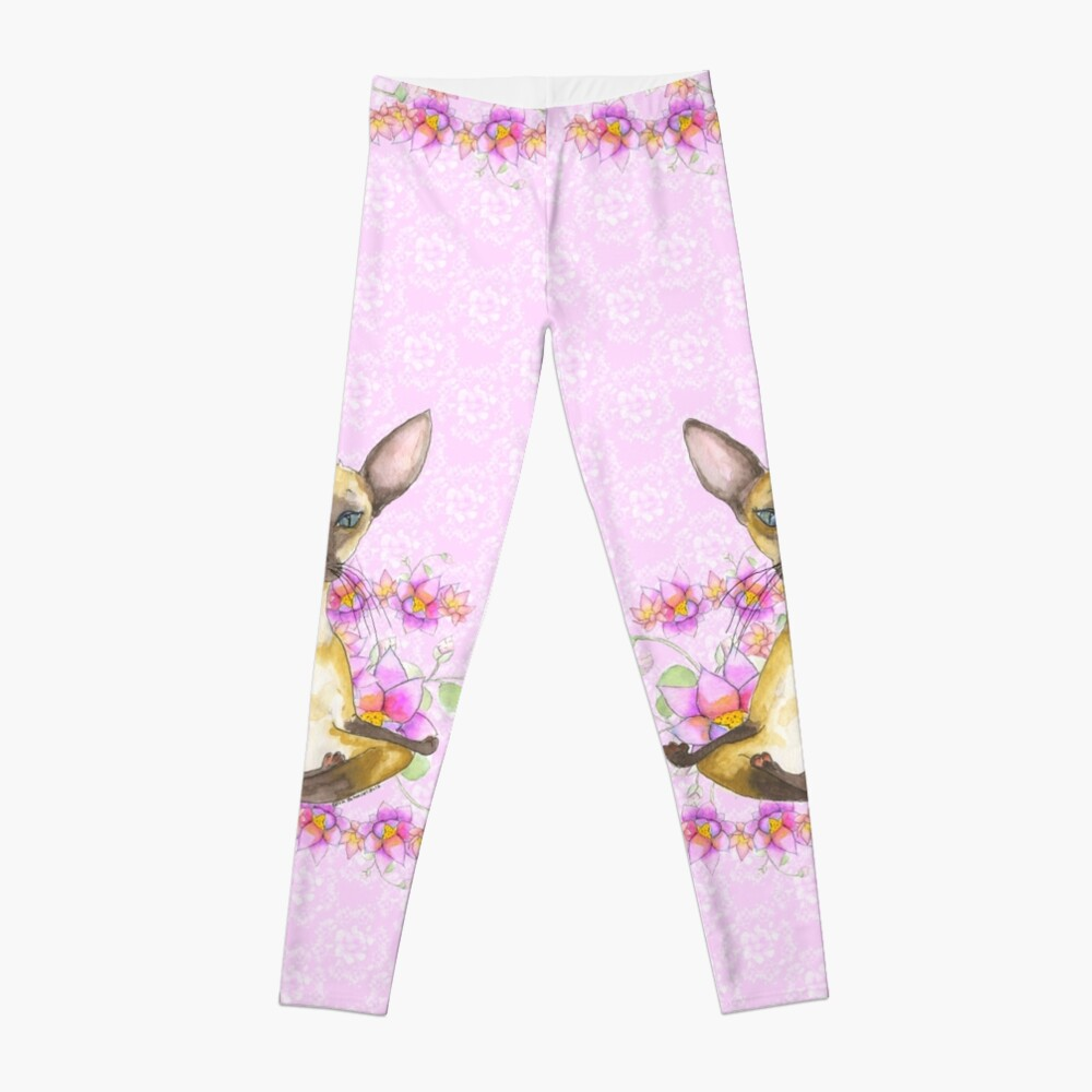 Ming Ming the Siamese Yoga Cat  Leggings Front