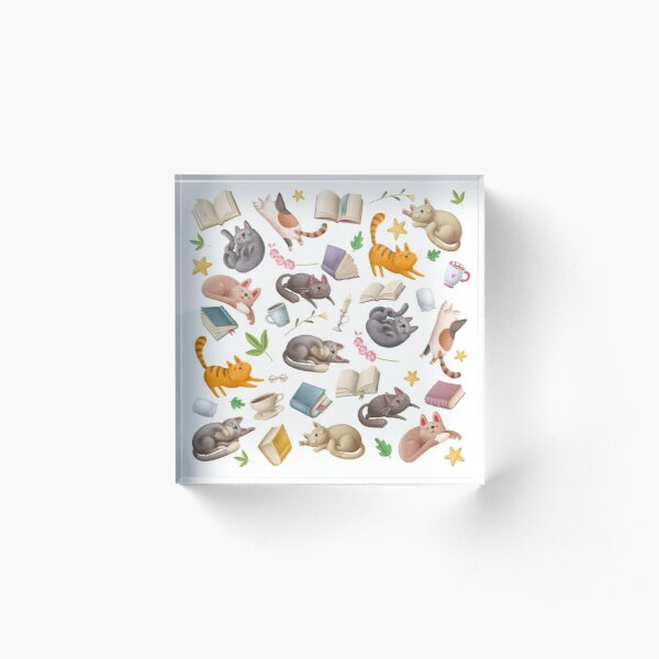 Cute Cats Napping with Books Pattern Acrylic Block