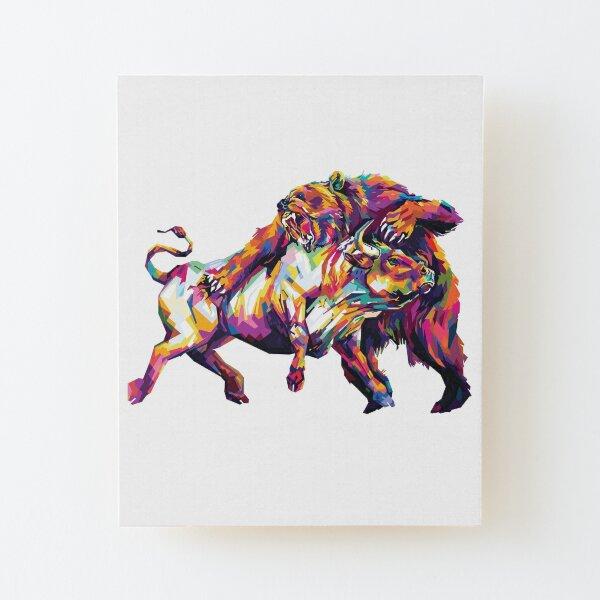 Bulls VS Bears Stock Market Wood Mounted Print