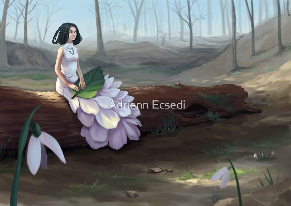 Snowdrop - Fantasy Woman In Spring Forest by Adrienn Ecsedi
