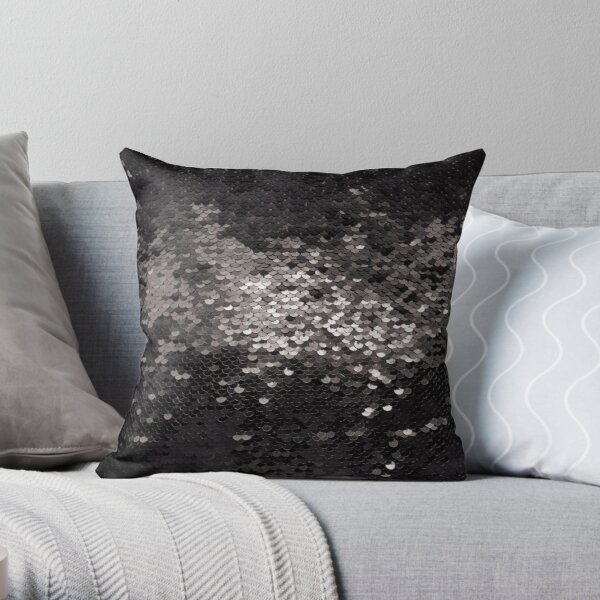 Sequins black glamour bling mask Throw Pillow