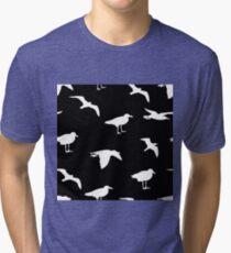 Seagulls. Black pattern Tri-blend T-Shirt