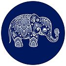 White Floral Paisley On Blue Circle Cute Elephant Illustration by artonwear