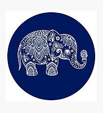 White Floral Paisley On Blue Circle Cute Elephant Illustration Photographic Print