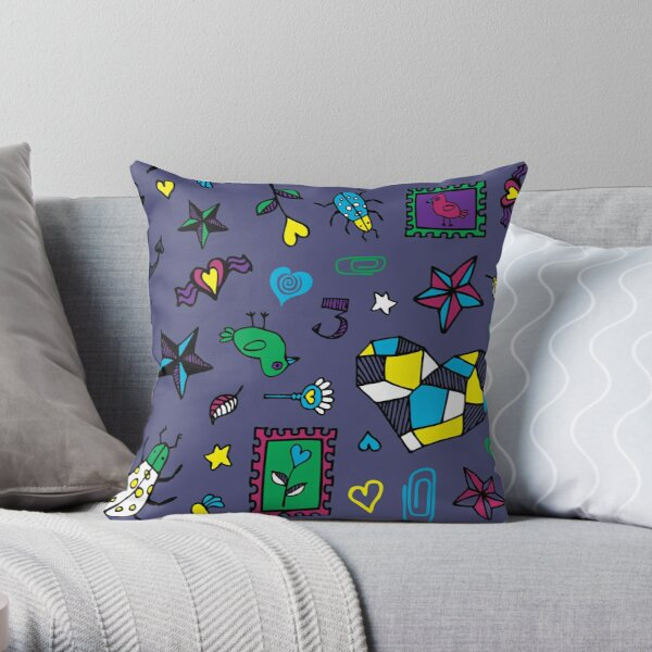 Beetle Doodle - Slate - fashion pattern by Cecca Designs Throw Pillow