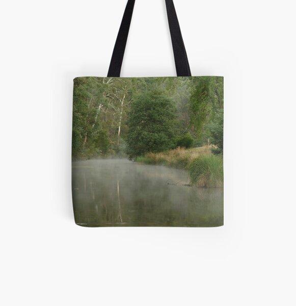 Joe Mortelliti Gallery - Morning mist on the Crooked River, near Talbotville, alpine Victoria, Australia.  All Over Print Tote Bag