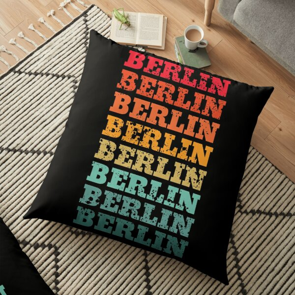 Berlin - repeated retro vintage sunset design with a distressed effect Floor Pillow