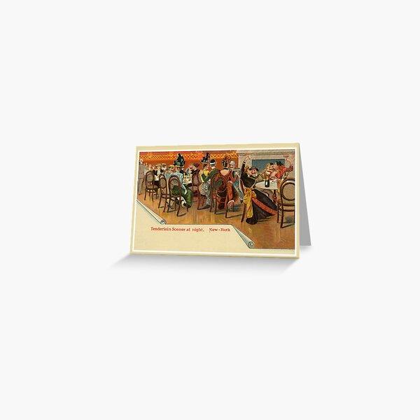Vintage New York Restaurant party, Tenderloin Scene at night Greeting Card