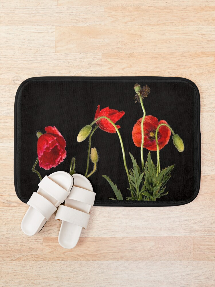 Alternate view of Vibrant Red Poppies On Black Bath Mat