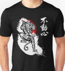 Japanese Tiger with Fudoshin Kanji (white) T-Shirt
