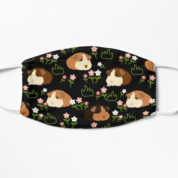 Guinea Pig and Flowers - Black Flat Mask