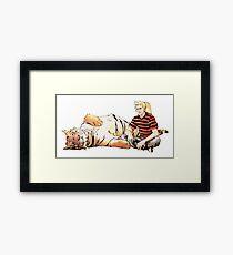 Real Calvin and Hobbes Framed Print