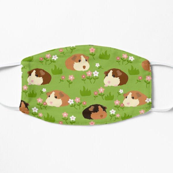 Guinea Pig and Flowers - Green Flat Mask