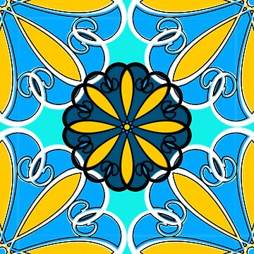 Blue and Yellow Offset Pattern by pennywm782