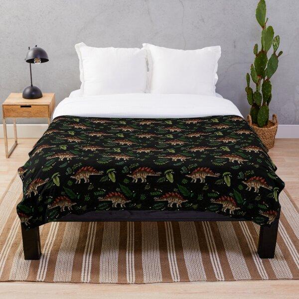 Stegosaurus Forest Throw Blanket