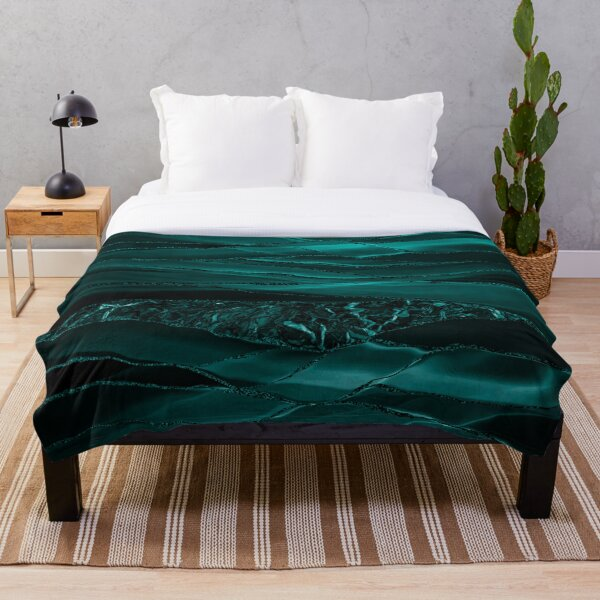 Emerald  Green Glamour Marble And Agate Landscapes Throw Blanket