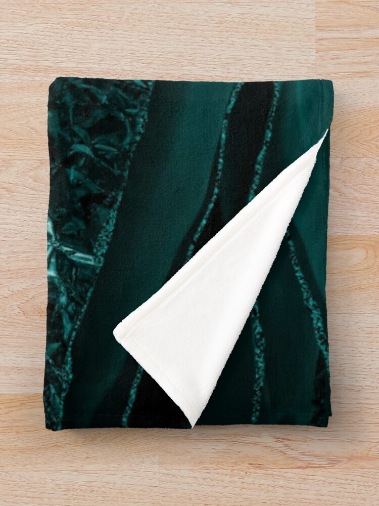 Alternate view of Emerald  Green Glamour Marble And Agate Landscapes Throw Blanket