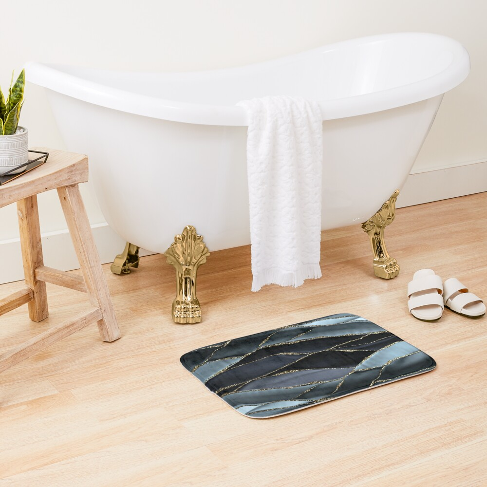 Black And Gray Gold Marble Agate landscapes Bath Mat