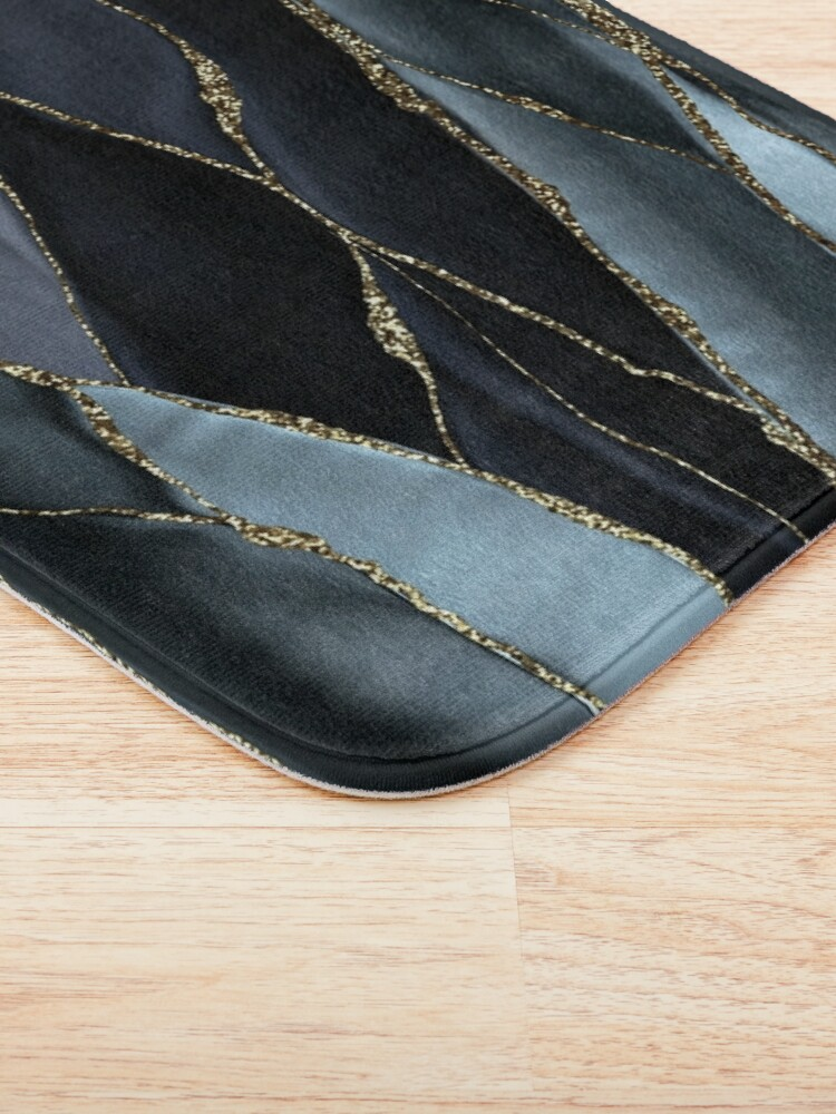 Alternate view of Black And Gray Gold Marble Agate landscapes Bath Mat