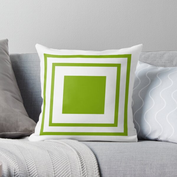 Poolside Party Green Squares Throw Pillow