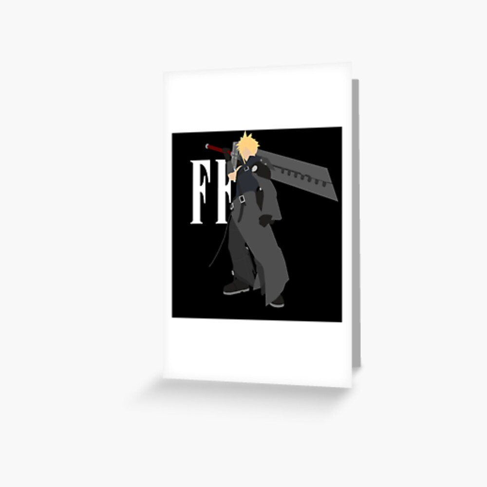 Cloud Strife Vector Minimalist Advent Children White Logo Greeting Card