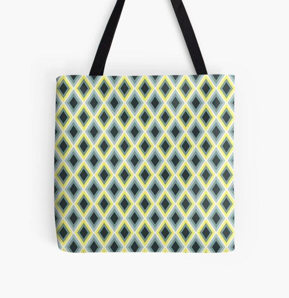 Foggy Morning Diamonds_ikat pattern All Over Print Tote Bag