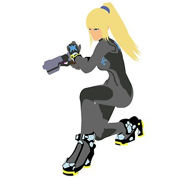 Zero Suit Samus Vector/Minimalist (Black Outfit, White Logo) by Alseias
