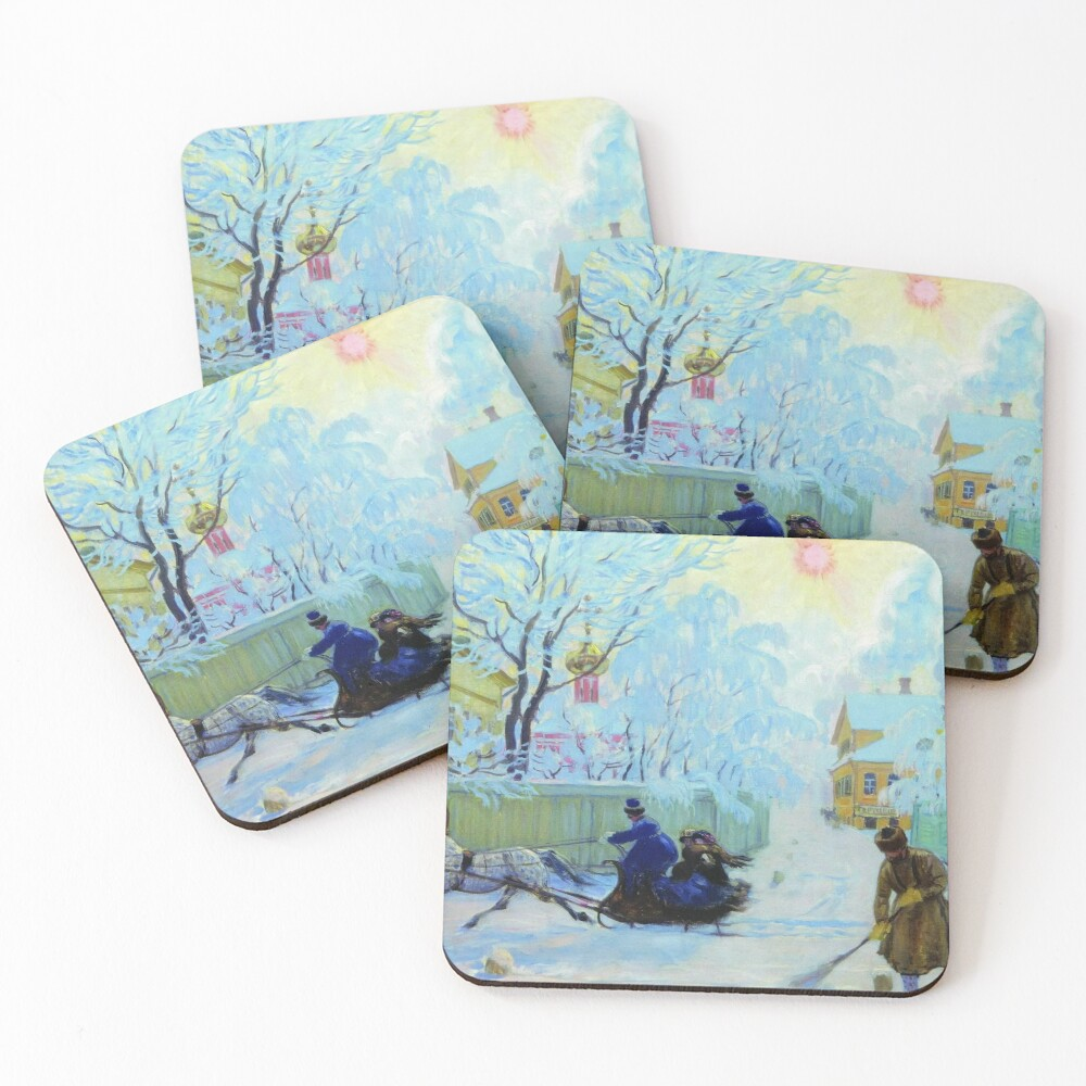 Boris Kustodiev Frosty Day, 1913 - Frosty Morning Coasters (Set of 4)