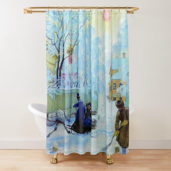 Boris Kustodiev Frosty Day, 1913 - Frosty Morning Shower Curtain