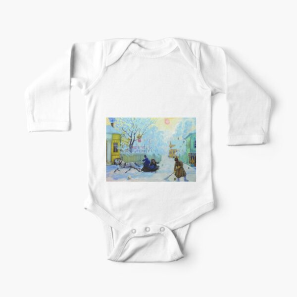 Boris Kustodiev Frosty Day, 1913 - Frosty Morning Long Sleeve Baby One-Piece