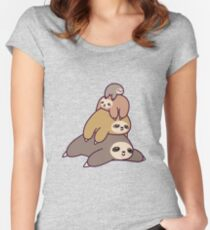 Sloth Stack Women's Fitted Scoop T-Shirt