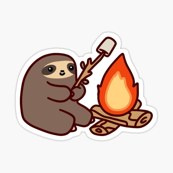 Campfire Sloth Sticker