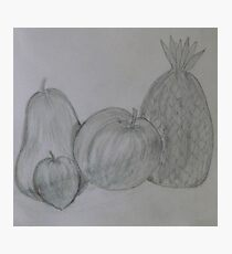 Pencil Drawing Fruit Stillife Photographic Print
