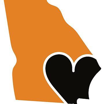 The Heart of Georgia Orange and Black by Gritzke