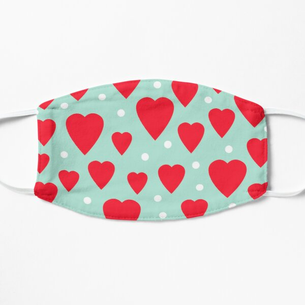 Love Hearts and Dots pattern Flat Mask