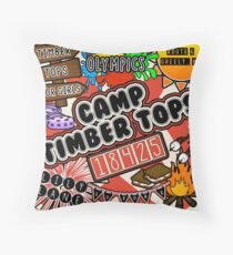 Camp Timber Tops Throw Pillow
