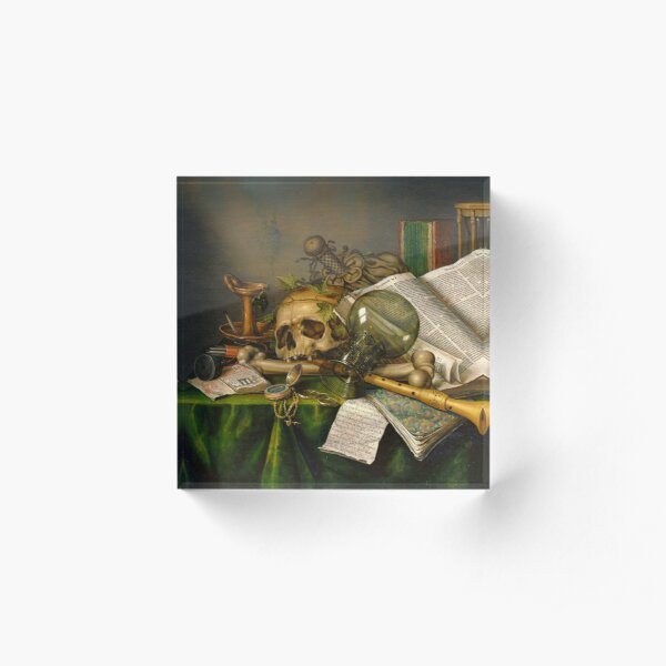 Vanitas - Still Life with Books and Manuscripts and a Skull by Edwaert Collier, Dutch, 1663 Acrylic Block