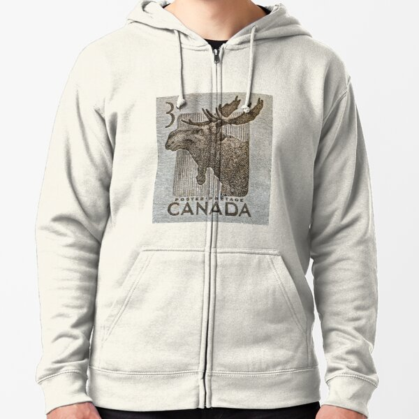 """1953 Canada Moose Stamp"" Zipped Hoodie"
