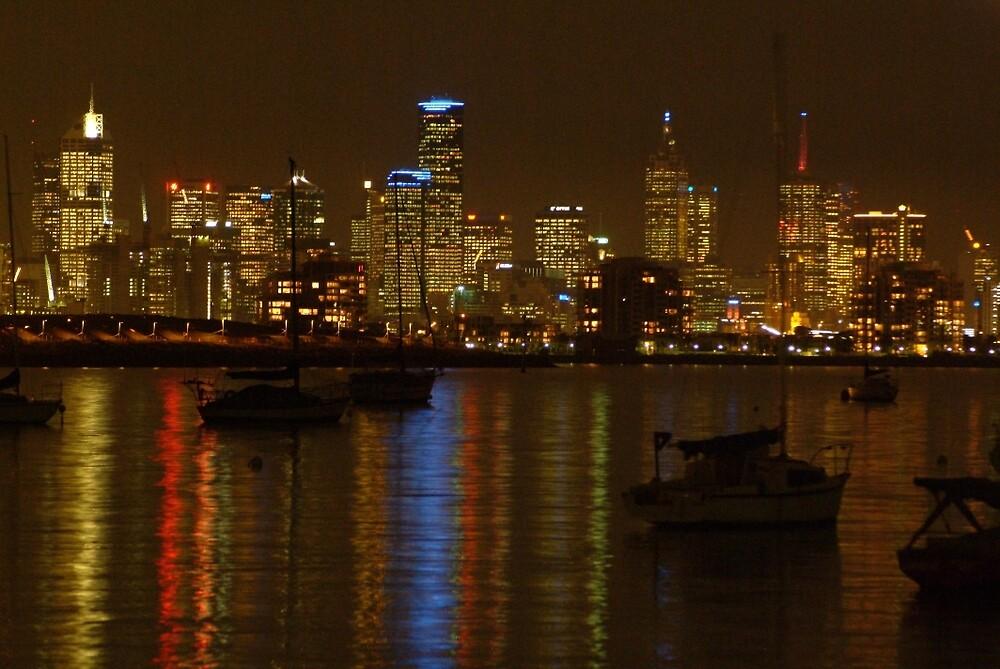 Joe Mortelliti Gallery - Melbourne's skyline at night, viewed from Williamstown, Victoria, Australia.   by thisisaustralia