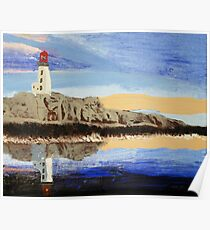 Lighthouse Reflection On The Water Poster