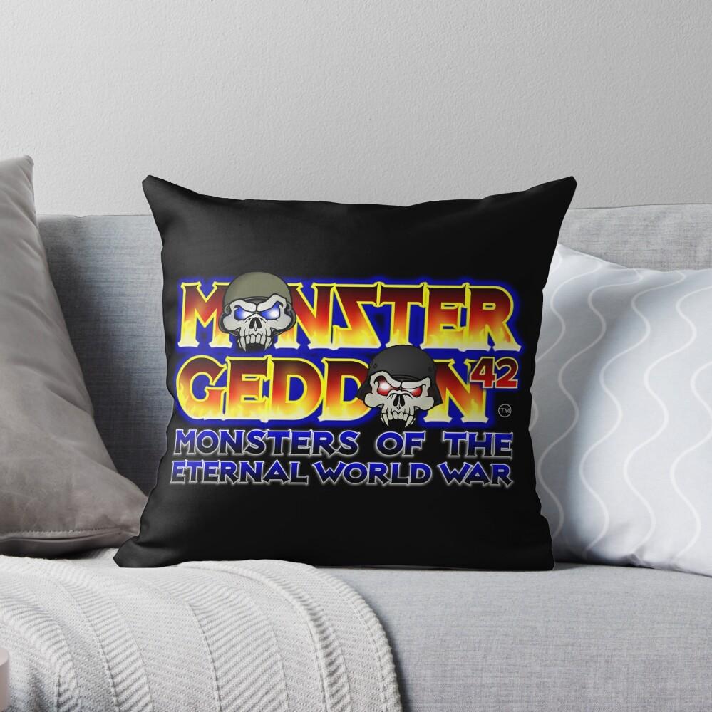 MONSTERGEDDON 42 Logo Block Throw Pillow
