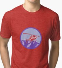 Helicopter Alps Mountains Circle Retro Tri-blend T-Shirt